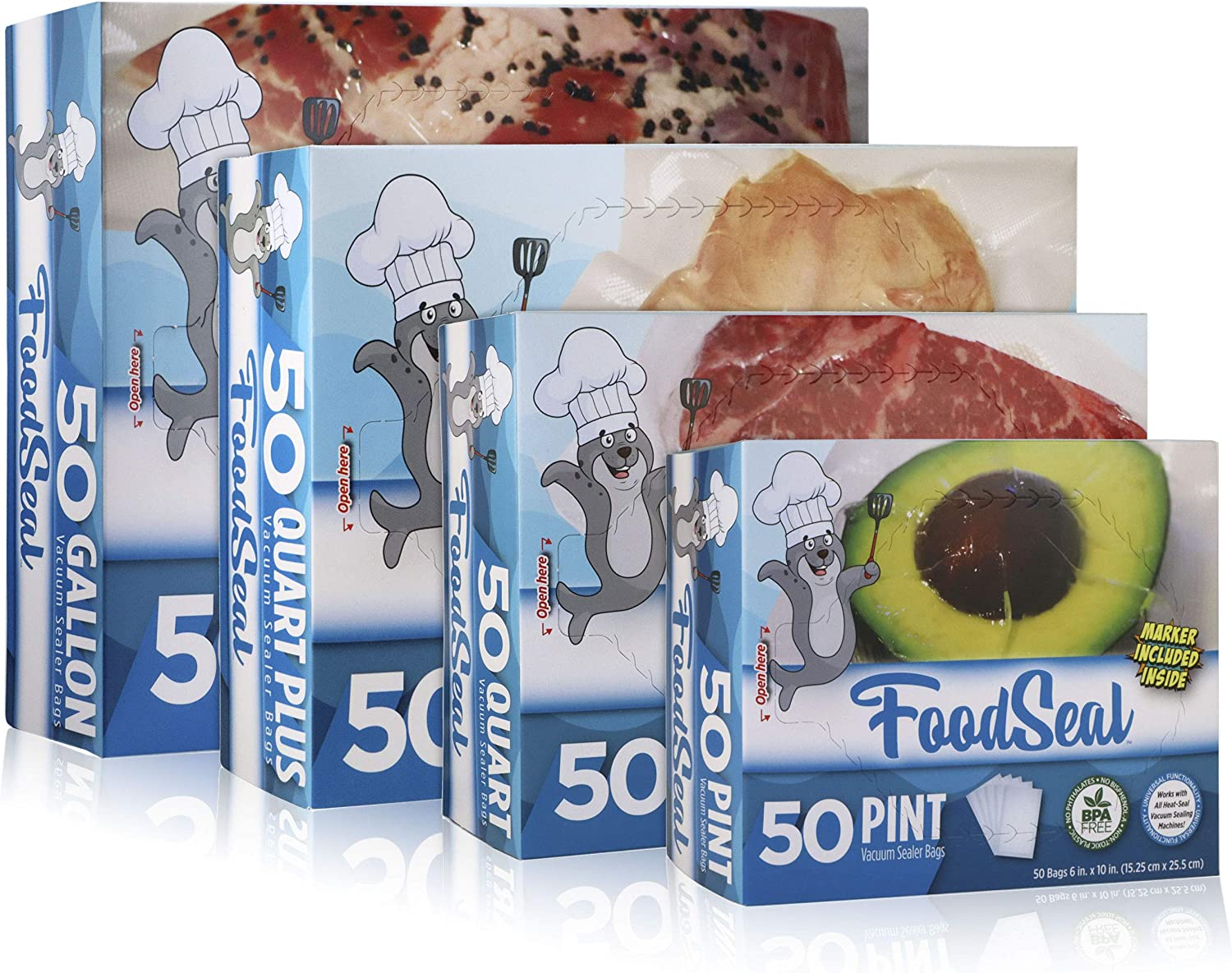 "FoodSeal 50 Pint, 50 Quart, 50 Quart-Plus, and 50 Gallon Vacuum Sealer Bags Ultimate Combo Pack | 6"" x 10"", 8"" x 12"", 10"" x 13"", 11"" x 16"" 
