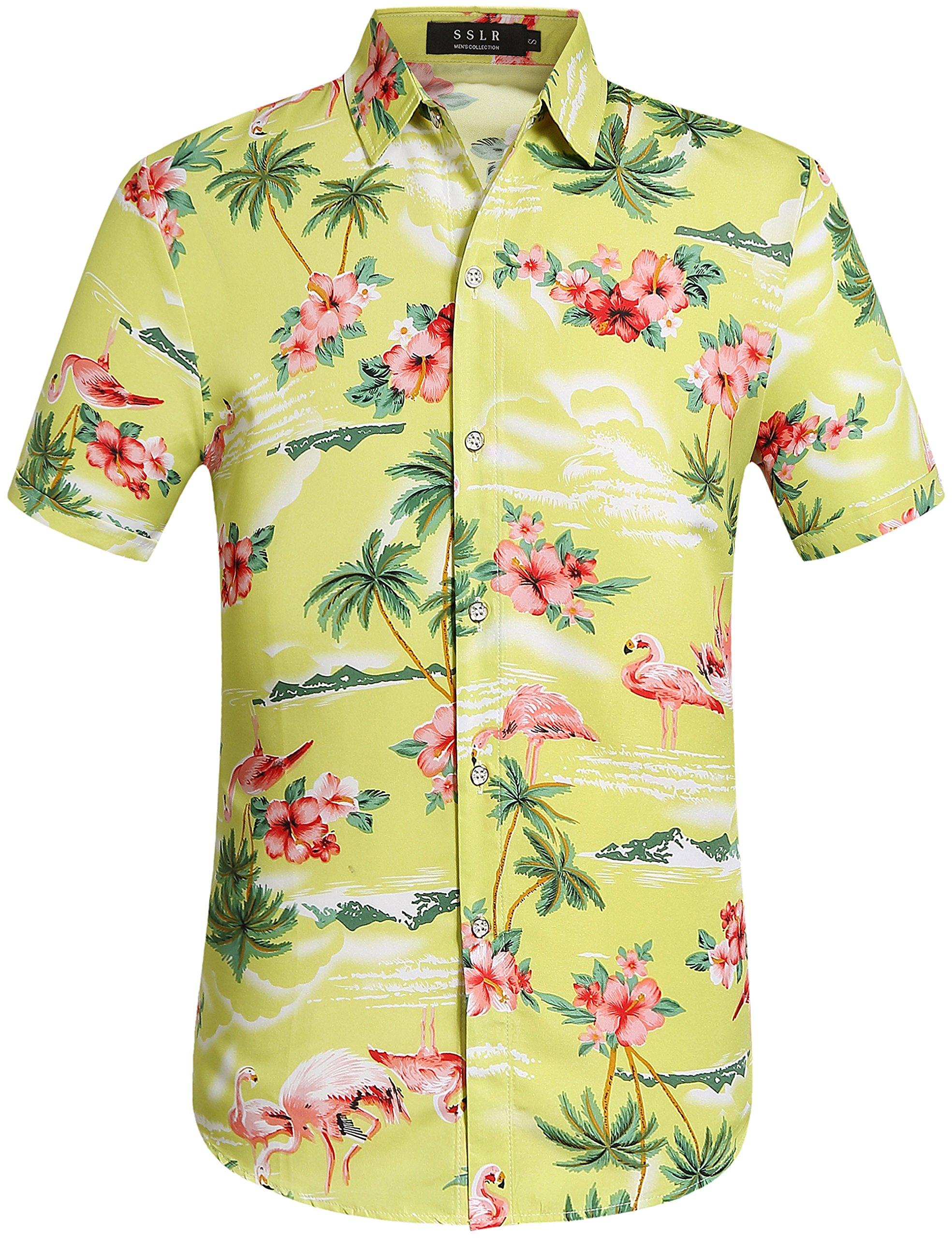 SSLR Men's Flamingos Casual Short Sleeve Aloha Hawaiian Shirt (Medium, Green Yellow)