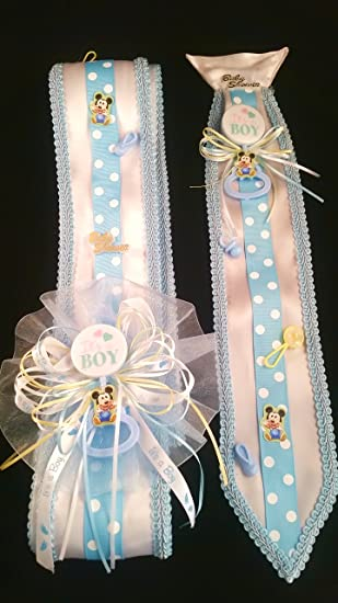 Blue Baby Mickey Mouse Baby Shower Sash U0026 Tie Set By Party Supplies