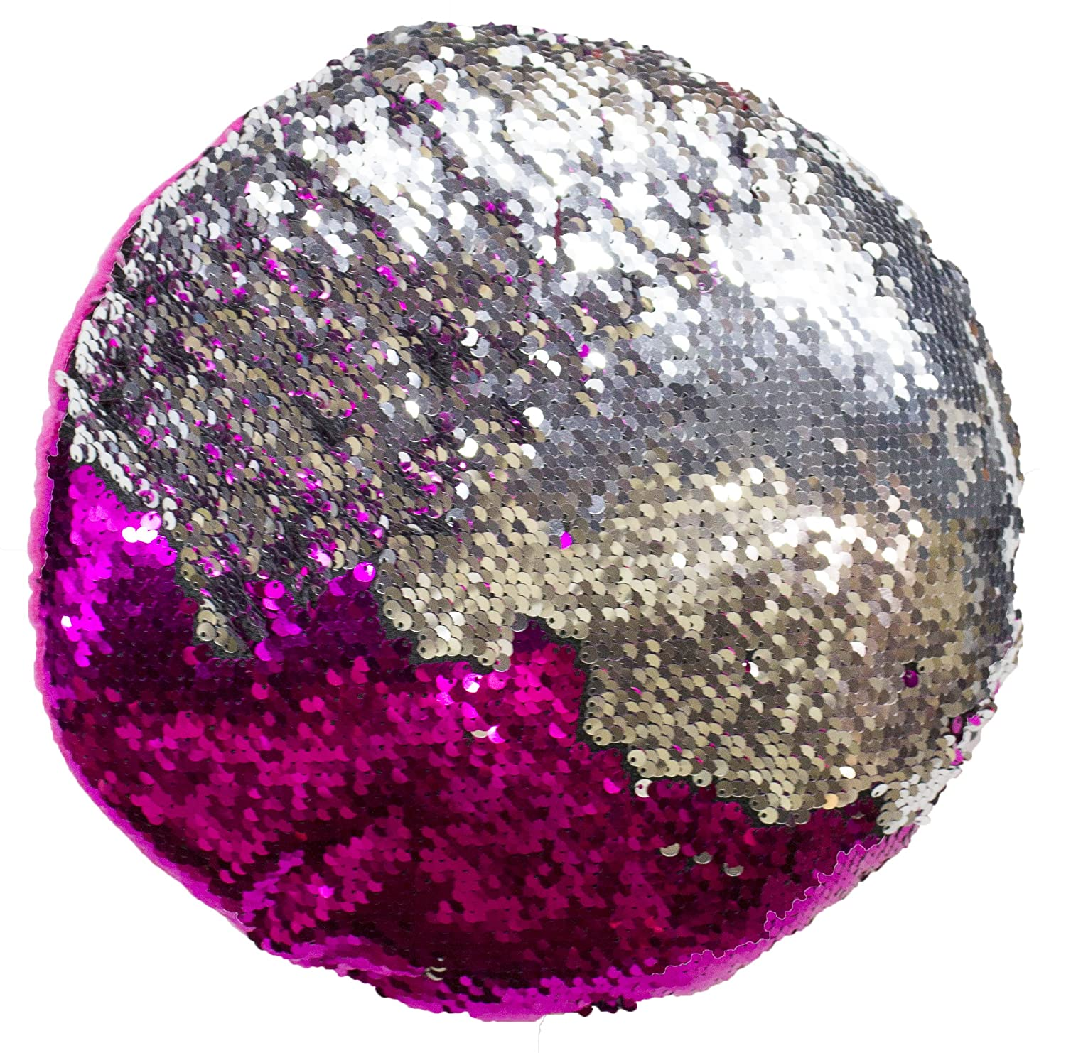 12 Inch Color Circle Shaped Color Changing Sequin Pillow (PinkSilver)