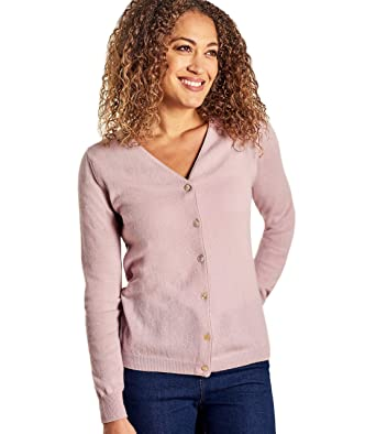 8d677623eb Wool Overs Edle Strickjacke mit V-Ausschnitt aus Merinowolle-Kaschmirwolle  für Damen Dusky Pink