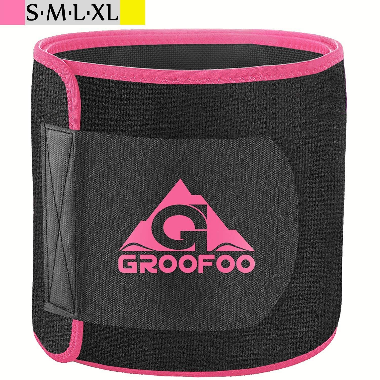 GROOFOO Waist Trimmer Belt, Adjustable Slimmer Weight Loss Ab Waist Trainer | Belly Fat Burner Band |Non Slip Lightweight Back Support for Man&Women