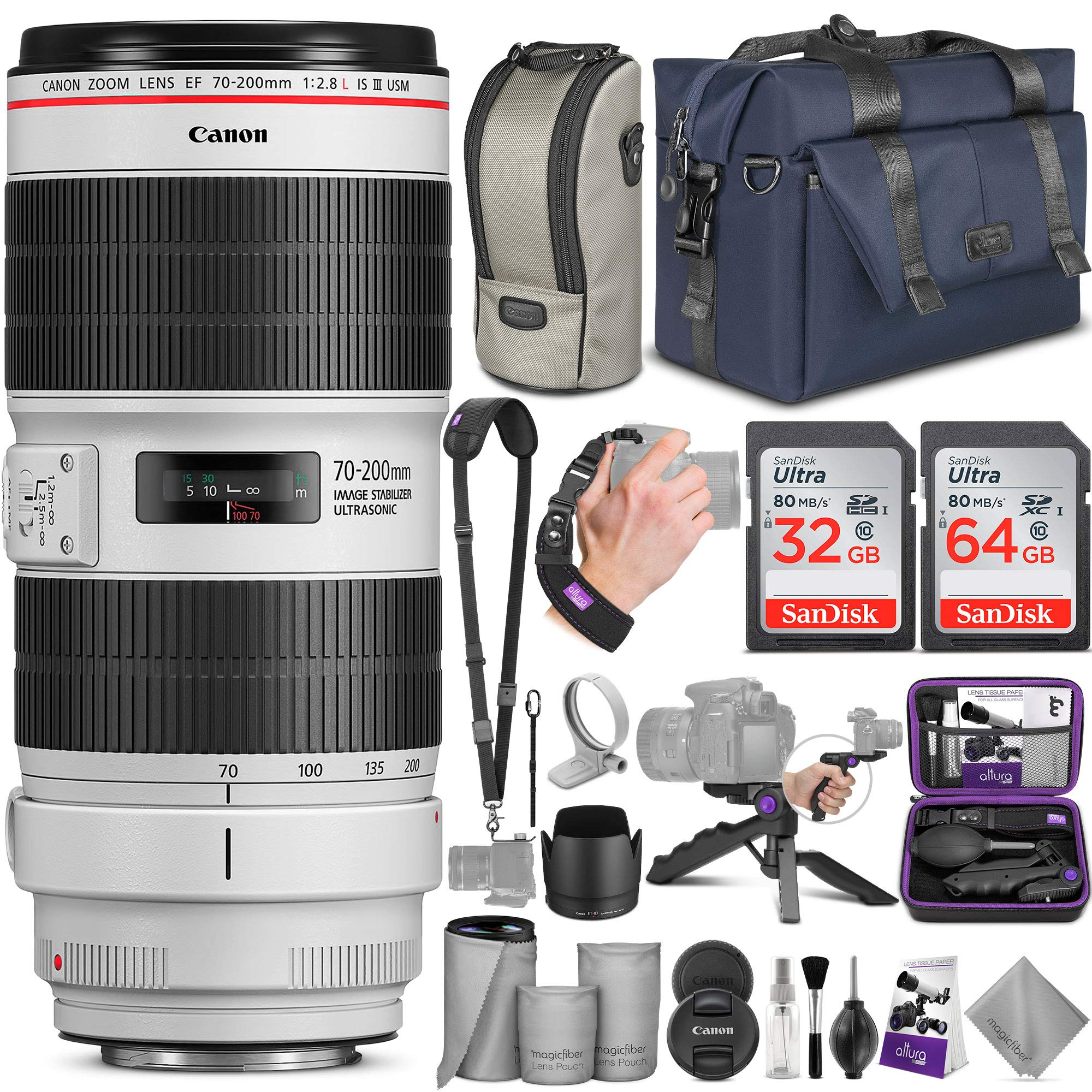 Canon EF 70-200mm f/2.8L is III USM Lens with Altura Photo Complete Accessory and Travel Bundle by Canon