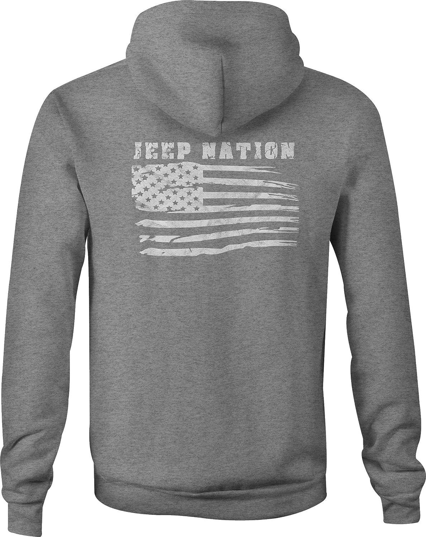 4x4 Zip Up Hoodie American Flag Nation Hooded Sweatshirt for Men