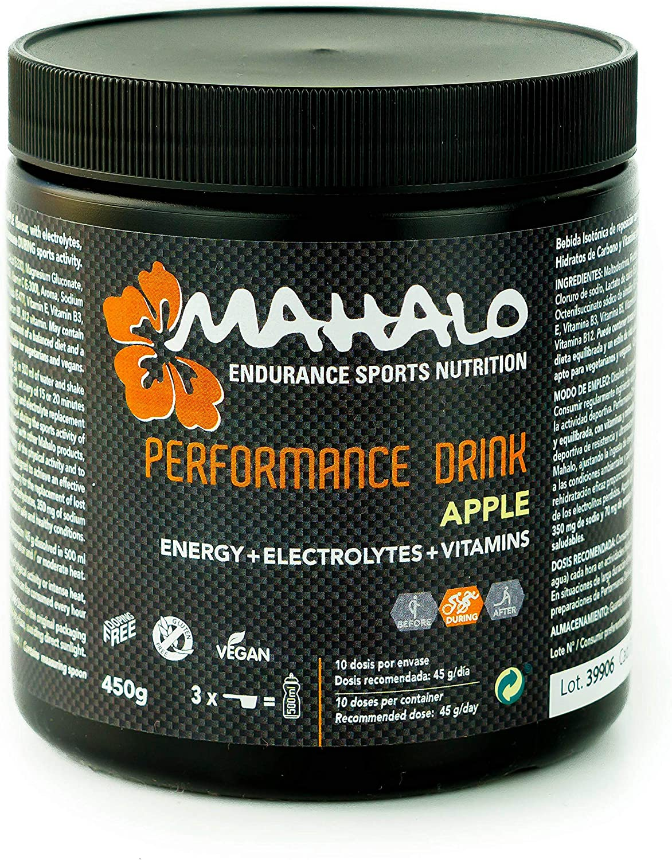MAHALO PERFORMANCE DRINK 450 g. Bebida deportiva Isotónica avanzada con Electrolitos, Carbohidratos, Vitaminas y Minerales para consumir durante la actividad. (Manzana): Amazon.es: Salud y cuidado personal