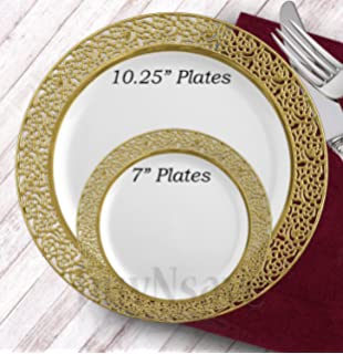 buynsave white with gold heavyweight plastic elegant disposable plates wedding party elegant dinnerware inspiration