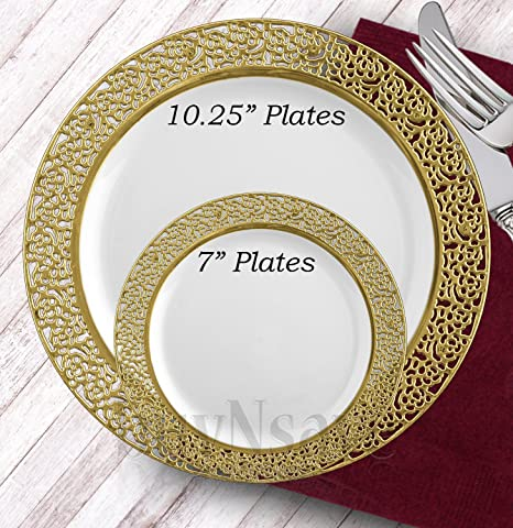 buyNsave White with Gold Heavyweight Plastic Elegant Disposable Plates Wedding Party Elegant Dinnerware Inspiration  sc 1 st  Amazon.com : high end disposable plates - pezcame.com