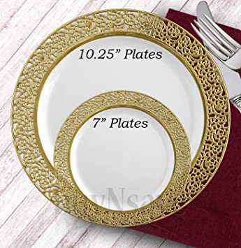 buyNsave White with Gold Heavyweight Plastic Elegant Disposable Plates Wedding Party Elegant Dinnerware Inspiration  sc 1 st  Amazon.com & Amazon.com: buyNsave White with Gold Heavyweight Plastic Elegant ...