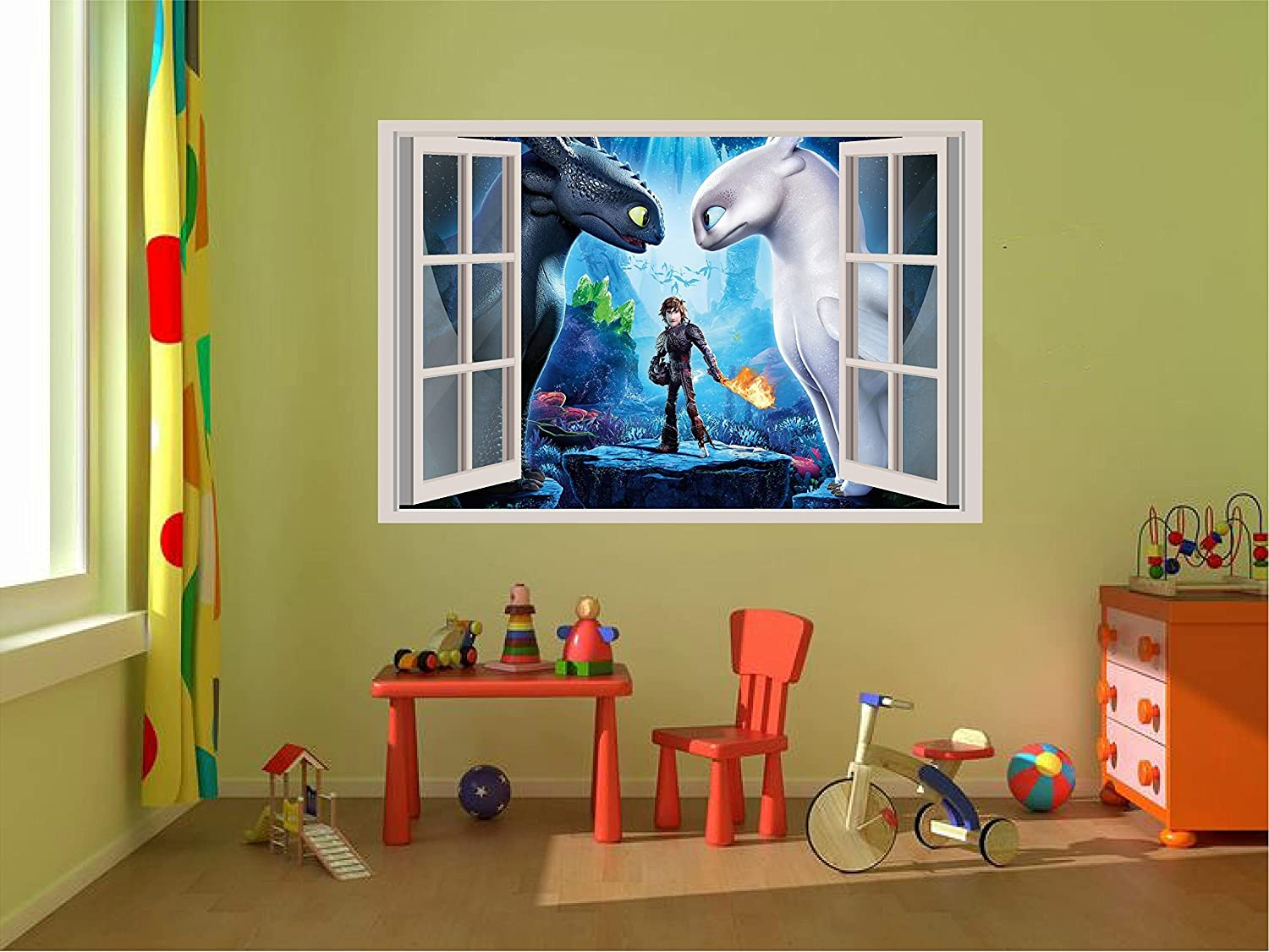 How to train your dragon Toothless Light fury 3D Wall Decal Sticker 18, 24, 36 or 52 17 24 36 or 52 17