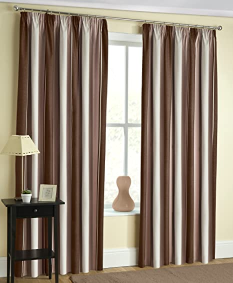 Mocha Coffee Cream Blockout Striped Curtains 46quot X 54quot