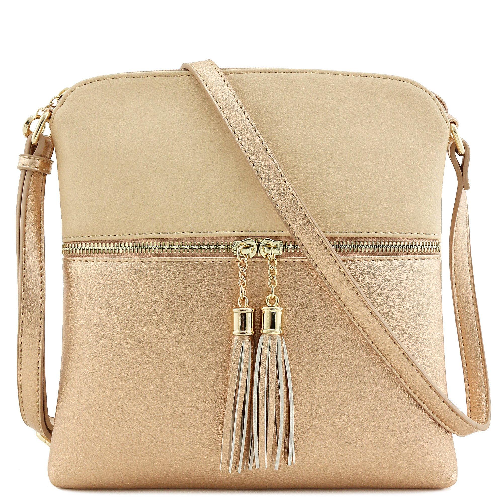 Tassel Zip Pocket Crossbody Bag (Nude/Rose Gold)