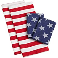 DII Stars and Stripes Kitchen Towel and Dish Cloth, Set of 4