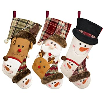 christmas stockings 17 set of 3 embroidered christmas stockings large size for kids xmas