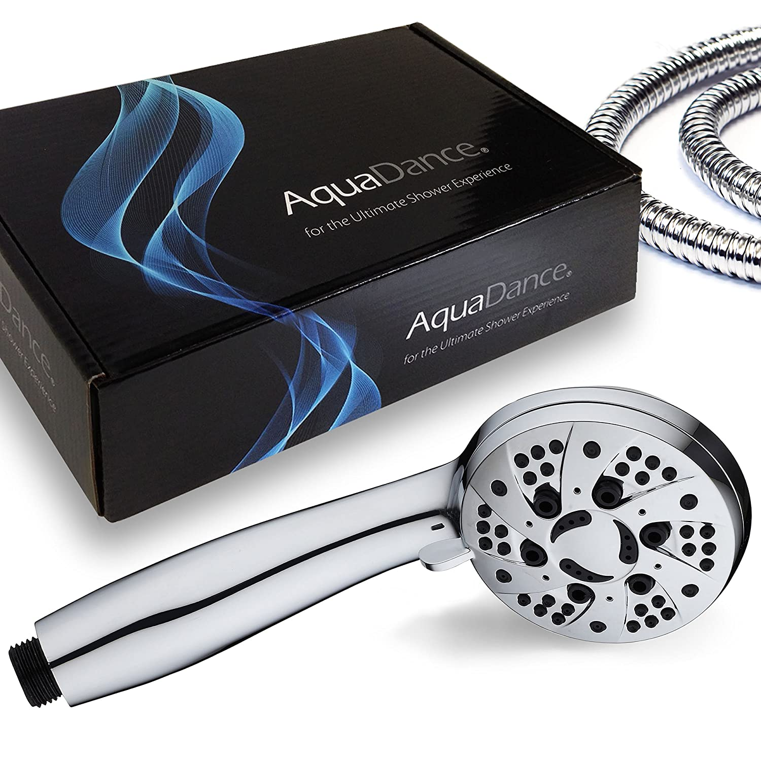 AquaDance High Pressure 6Setting 35 Chrome Face Handheld Shower with Hose for the Ultimate Shower