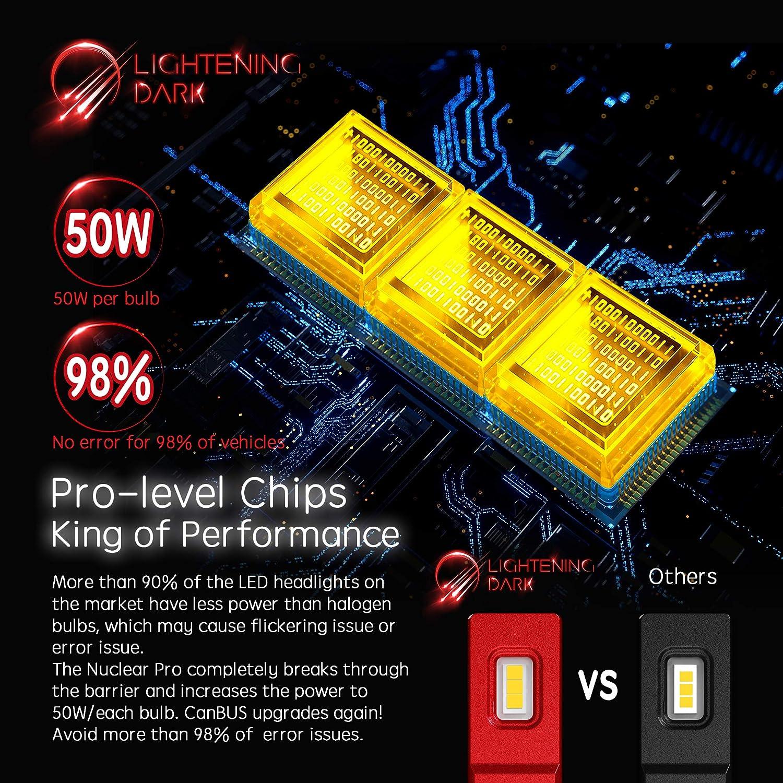 LIGHTENING DARK 9005 HB3 led headlight bulb 6500K Cool White 16000 Lumens Extremely Bright Pro Conversion Kit