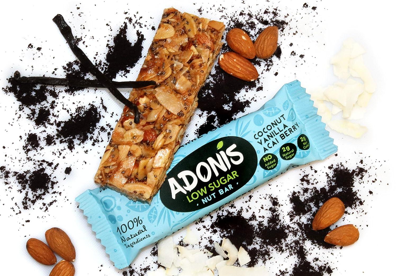 Adonis Low Sugar Nut Bar - Barritas de Coco Crujiente Sabor a Vainillia | 100% Natural, Baja en Carbohidratos, Sin Gluten, Vegano, Paleo (10): Amazon.es: ...