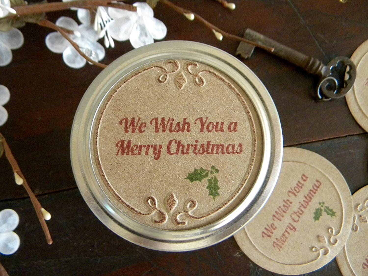 Merry Christmas, Mason Jar Labels, Christmas Stickers, Canning Jar Lids, Jar Tags, Gifts in a Jar, Holiday Gift Wrapping, Set of 8