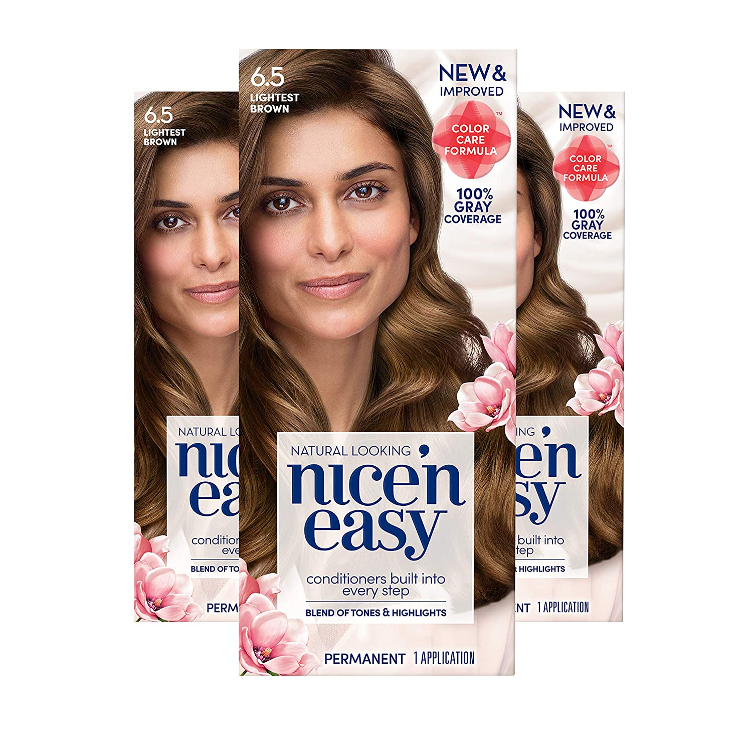 Amazon.com: Clairol Nice n Easy Permanent Hair Color, 6.5 Lightest Brown, 3 Count Allergy Gentle Single-Step Hair Dye with Conditioners, Natural-Looking ...