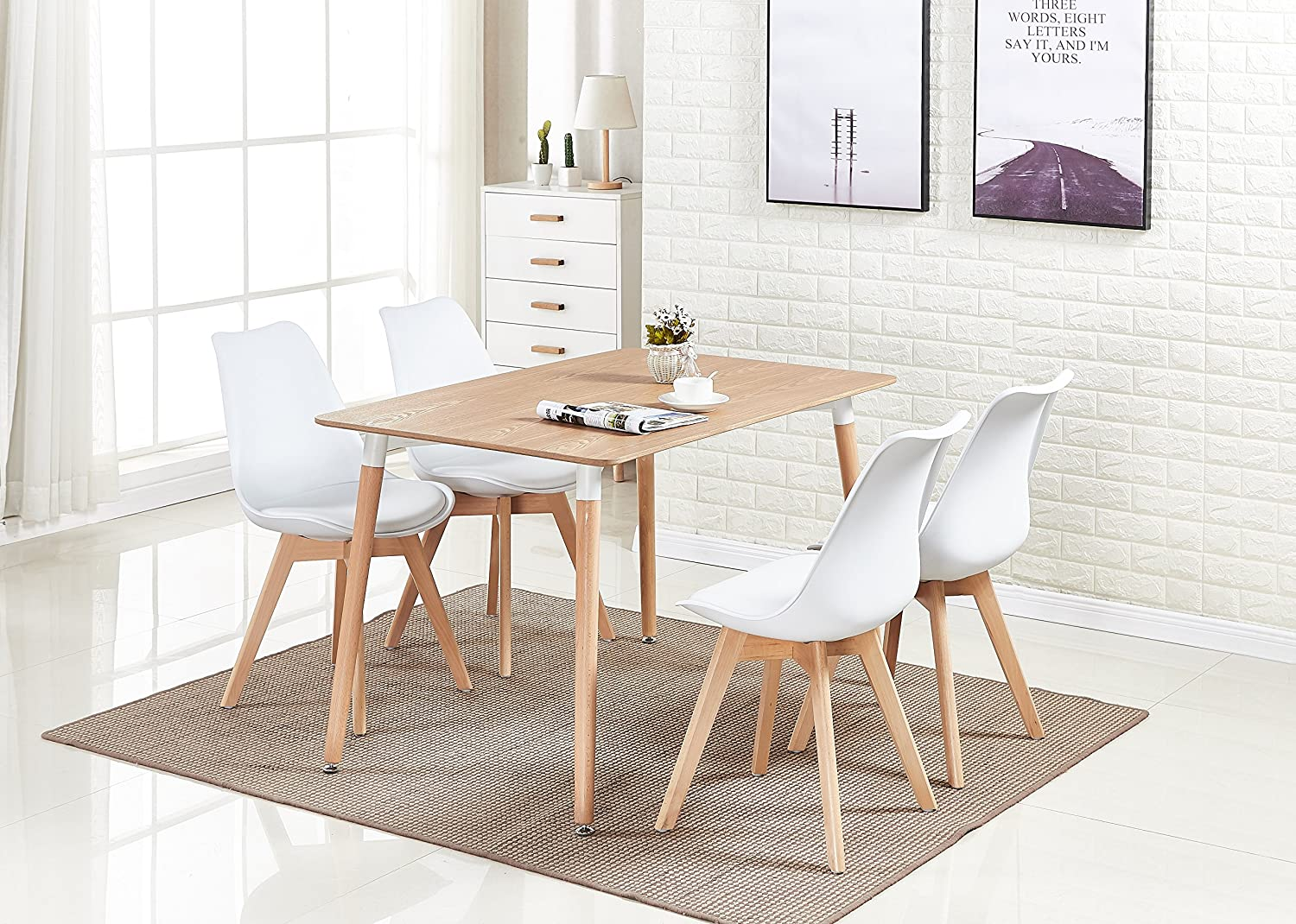P N Homewares Lorenzo Dining Table And 4 Chairs Set Retro And Modern Scandinavian Dining Set White Black Grey Red Pink Green Chairs With Wood Brown Dining Table White Amazon Co Uk Kitchen Home