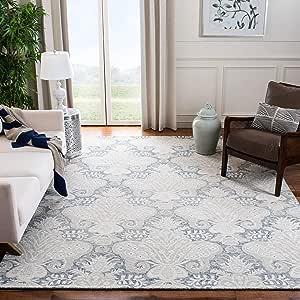 Amazon Com Safavieh Micro Loop Collection Mlp539m Handmade Premium Wool Area Rug 5 X 8 Blue Ivory Furniture Decor