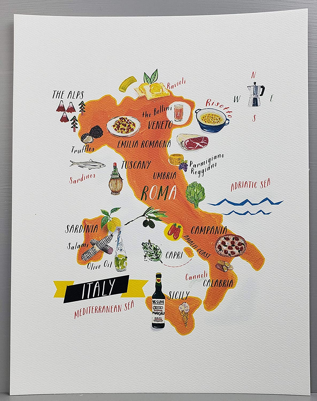 Nancy Nikko Italian Food Map, Food Regions of Italy, 8 1/2 x 11