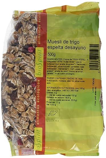 Biospirit Muesli de Espelta Desayuno de Cultivo Ecológico - 5 Paquetes de 500 gr - Total: 2500 gr