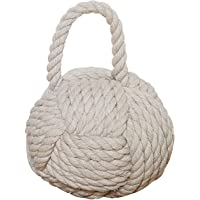 Creative Co-Op DE1586 Nautical Rope Knot Door Stop Ivory 6.25 x 6.25