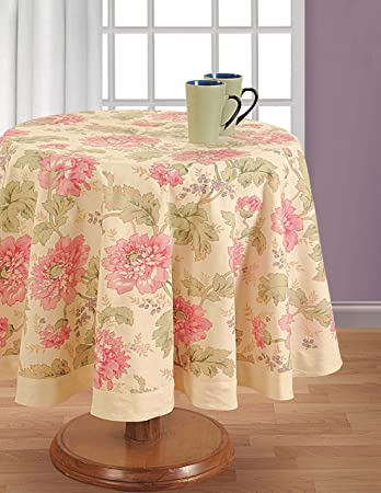 Superior ShalinIndia Round Floral Tablecloth   60 Inches In Diameter   Tablecloths  For 4 Seat Tables