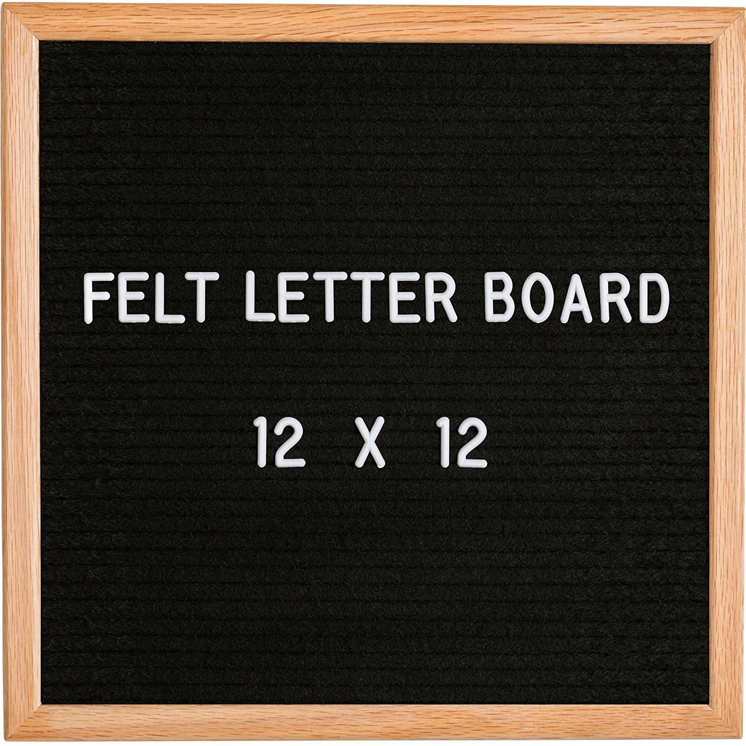 Black Felt Letter Board 12 x 12 | Comes with stand, Wall hook Mount, Canvas Bag, Oak Wood Frame, 360 White Letters and Special Characters