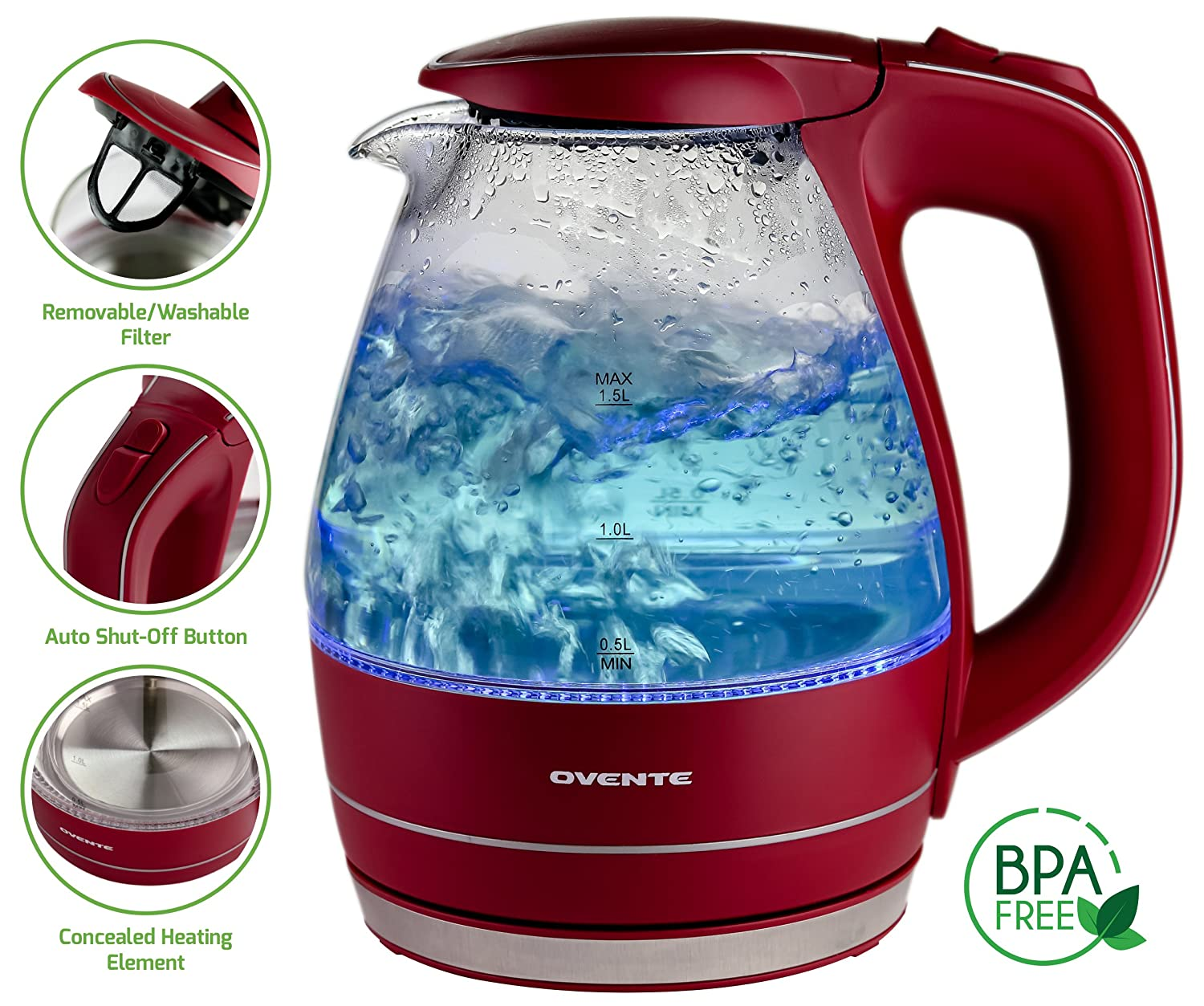 Ovente 1.5L BPA-Free Glass Electric Kettle, Fast Heating with Auto Shut-Off and Boil-Dry Protection, Cordless, LED Light Indicator, Black (KG83B) DAFI by Ruby Compass