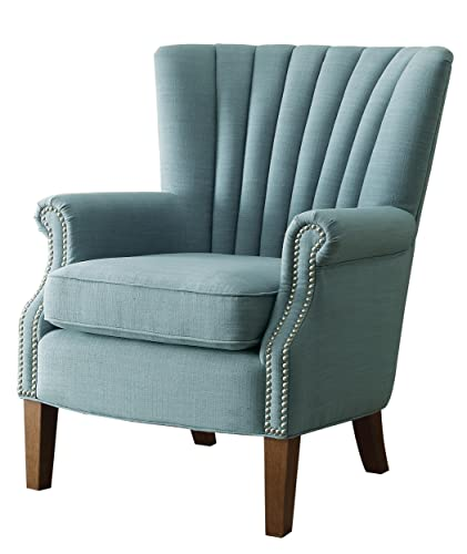 Homelegance Essex Modern Wingback Accent Chair with Nail Heads Flared Arm, Light Blue