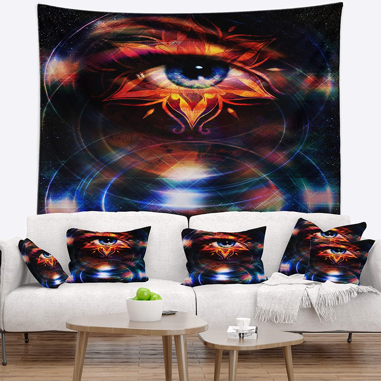 Designart TAP8704-68-80 ' Woman Eye with Fractal Star' Floral Blanket Décor Art for Home and Office Wall Tapestry XX-Large: 68 in. x 80 in. Created On Lightweight Polyester Fabric