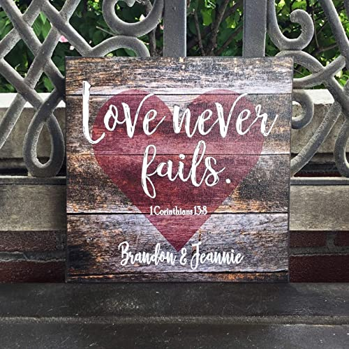 8eefa8e413c Amazon.com: Personalized Canvas, LOVE NEVER FAILS, Rustic Wedding, Personalized  Wedding Gift, Corinthians, Anniversary Gift, Barnwood Background, ...