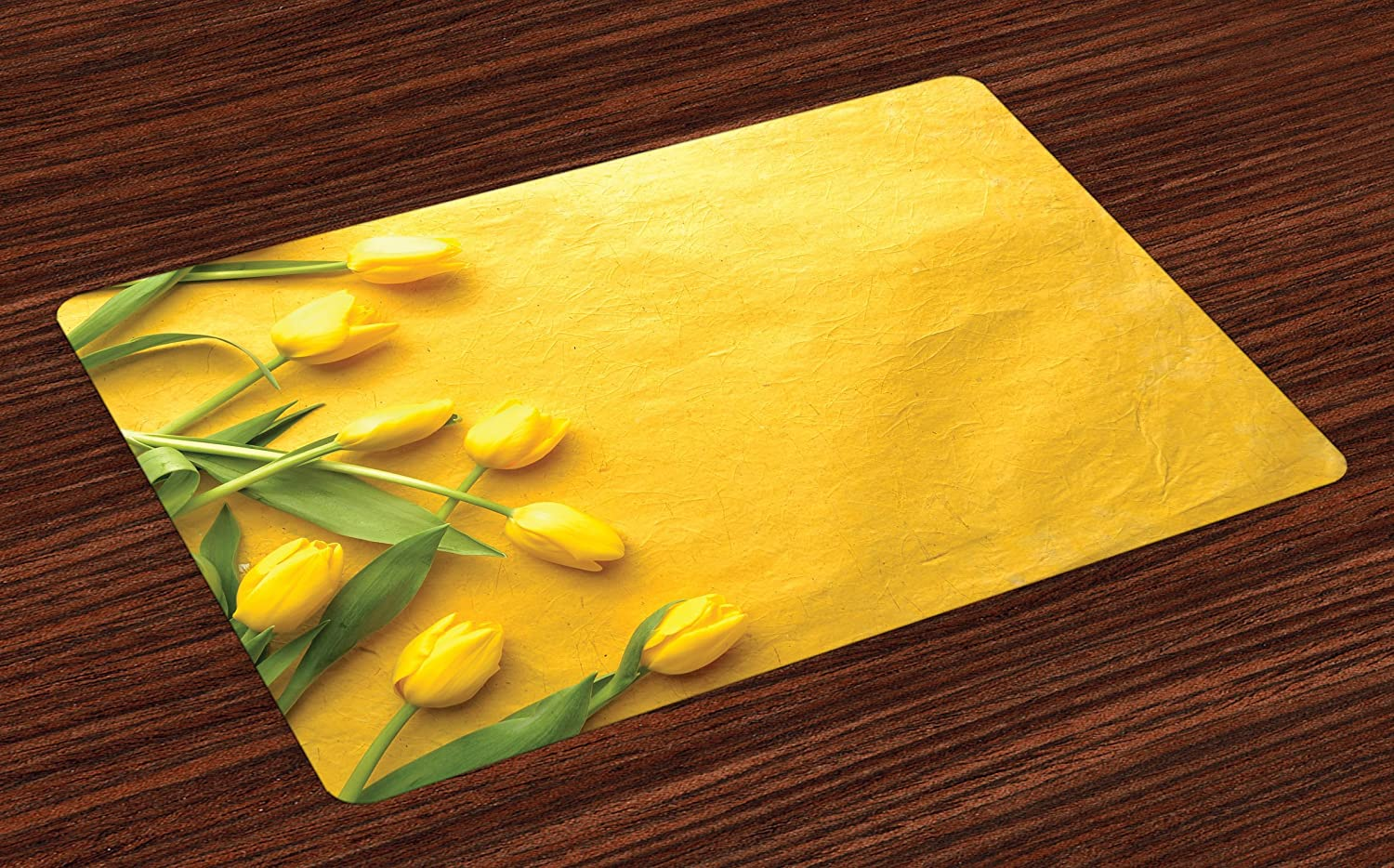 Ambesonne Yellow Place Mats Set of 4, Danish Dutch Tulips on Colored Wall Garden Floral Love Lily Herbs Artful Print, Washable Fabric Placemats for Dining Room Kitchen Table Decor, Yellow Green