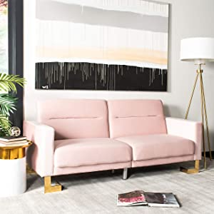 Safavieh Home Tribeca Glam Blush Velvet and Brass Foldable Sofa Bed