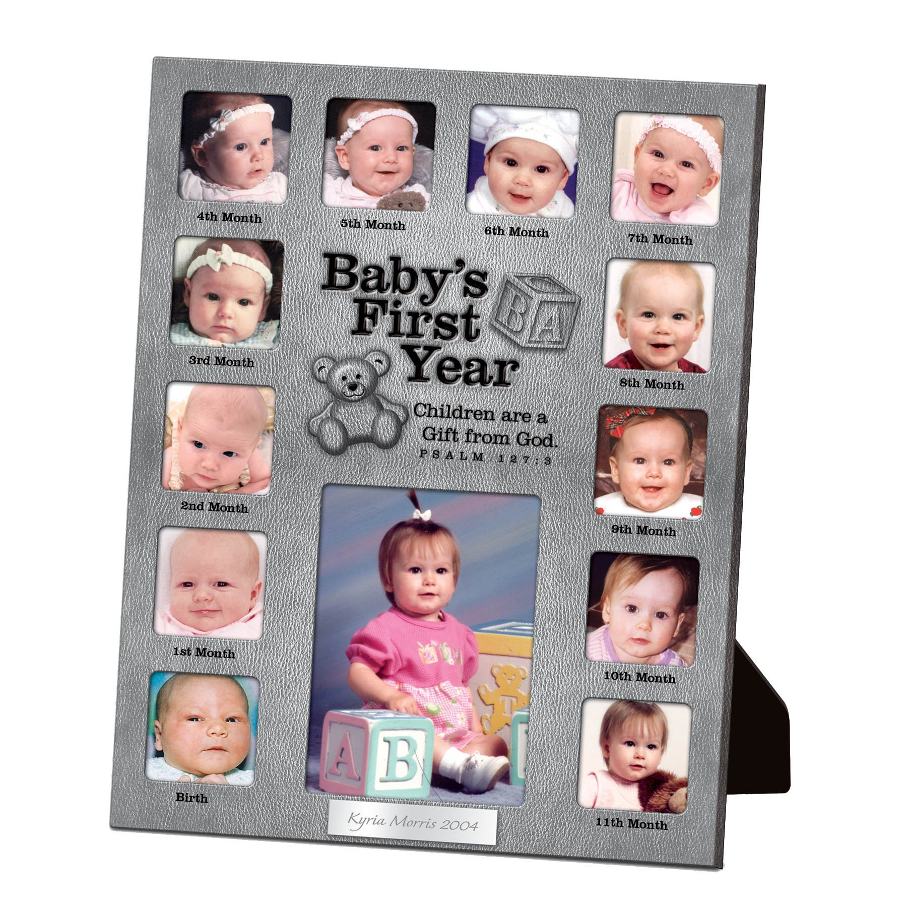 Lighthouse Christian Products Baby's First Year Metal 13 Photo Frame Collage, 9 1/2 x 12''