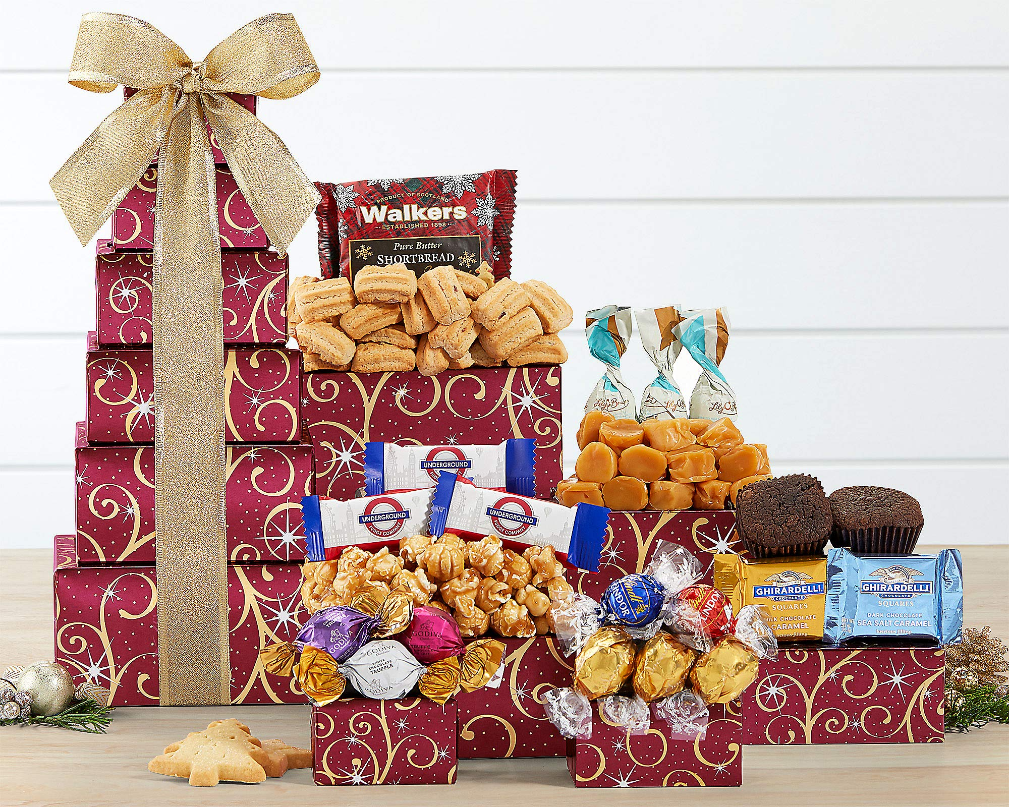 Gift Tower Of Sweets. Token of Appreciation Gift Tower. Perfect For Family Gift, Business Gift, Celebration Gift. A Birthday Gift Tower Favorite. Spectacular Thank You Gift Tower. by Wine Country Gift Baskets