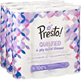 Marchio Amazon - Presto! Carta igienica trapuntata a 4 veli - Conf. da 48 rotoli (3 x 16 x 160 strappi)