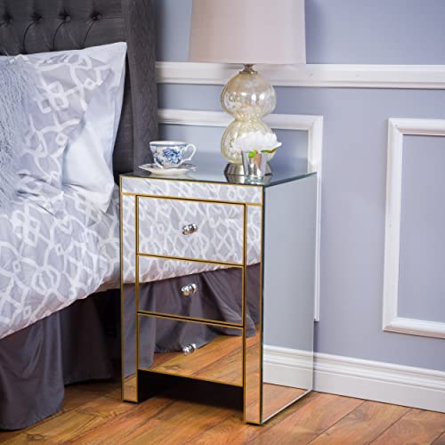 Christopher Knight Home Lenorr Mirrored 3-Drawer Side Table, Mirror Gold