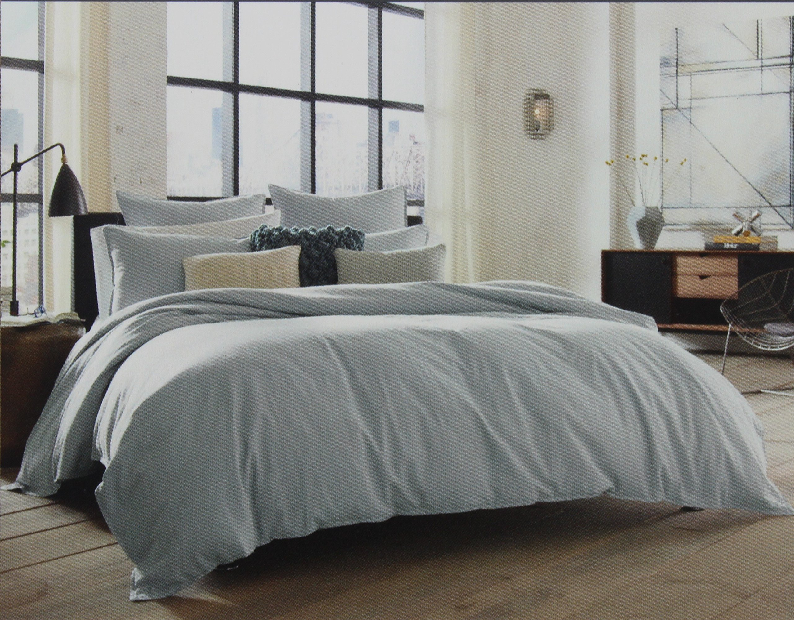 Kenneth Cole Reaction Home King Size Duvet Cover from the Mineral Bedding Collection in a Stoney Blue Color