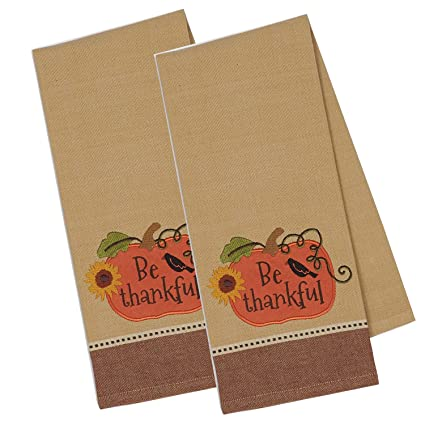 Beau DII Cotton Embroidered Thanksgiving Dish Towels, 18x28u0026quot; Set Of 2,  Decorative Oversized Kitchen