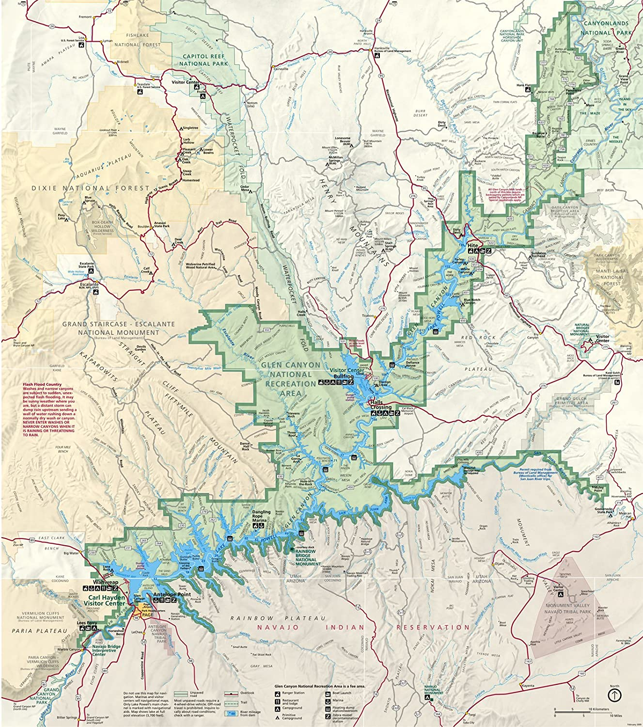 ARThouse Maps Wall Map of The Glen Canyon National Recreation Area in Arizona and Utah, 23 X 26 Inch Image