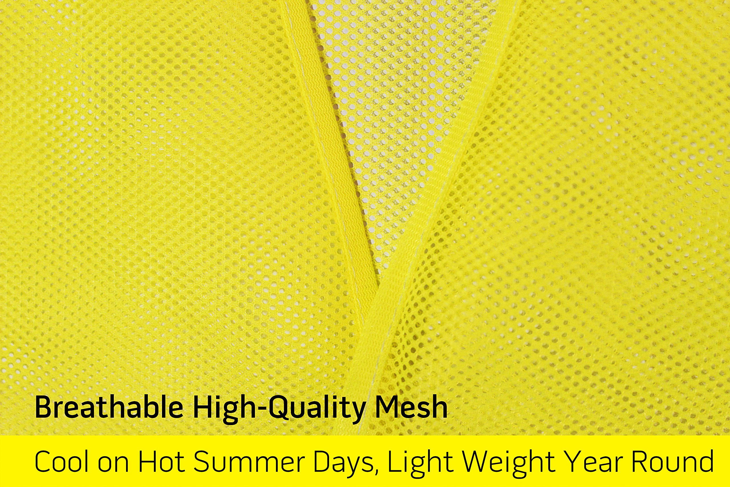 PeerBasics, 10 Pack, Yellow Reflective Safety Vest, Silver Strip, Bright Breathable Neon Yellow (Mesh, 10) by PeerBasics (Image #4)