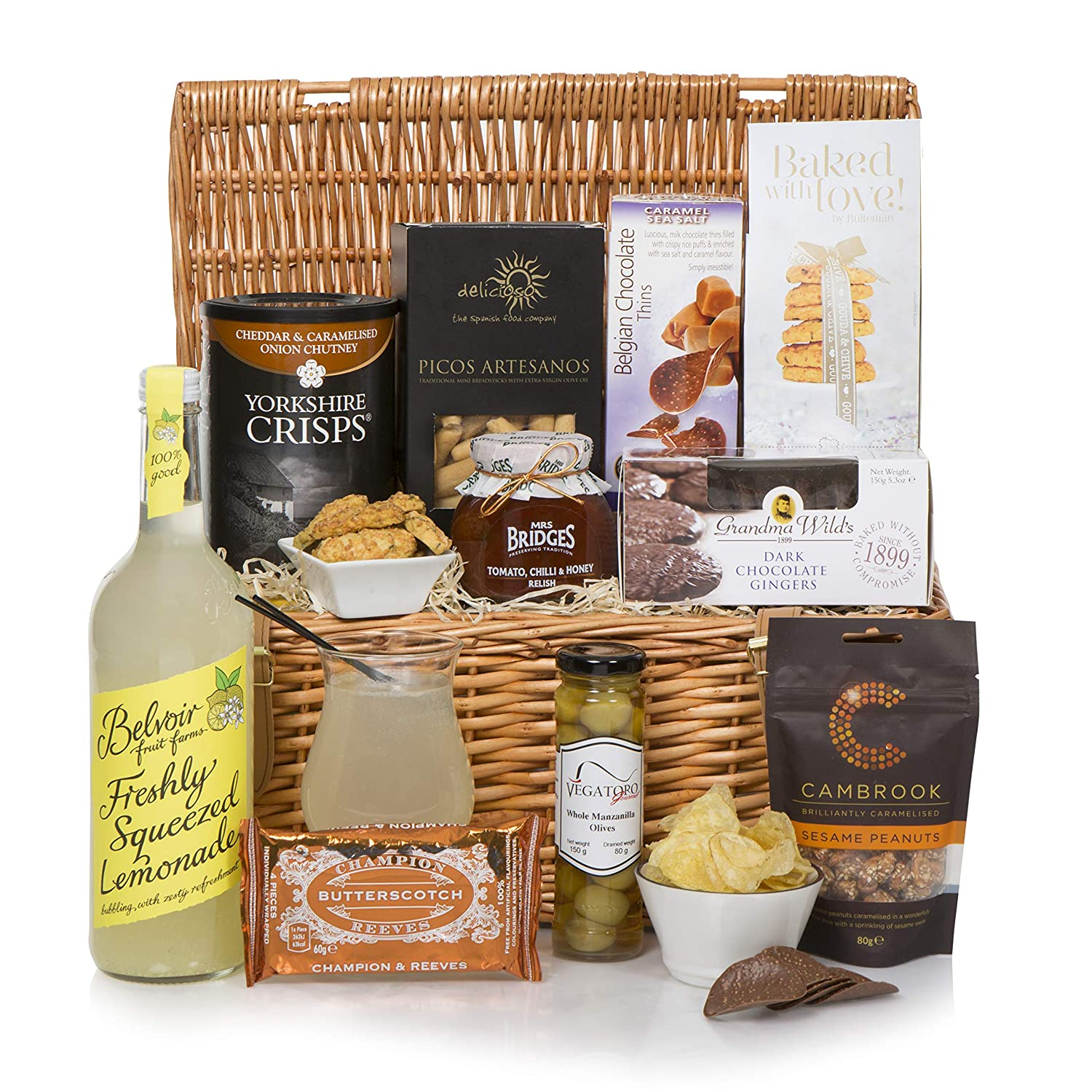 e79ab7cb0135 Luxury Alcohol Free Food Hamper - Traditional Food Hampers in Wicker Basket  - Non Alcoholic Gift Baskets  Amazon.co.uk  Grocery