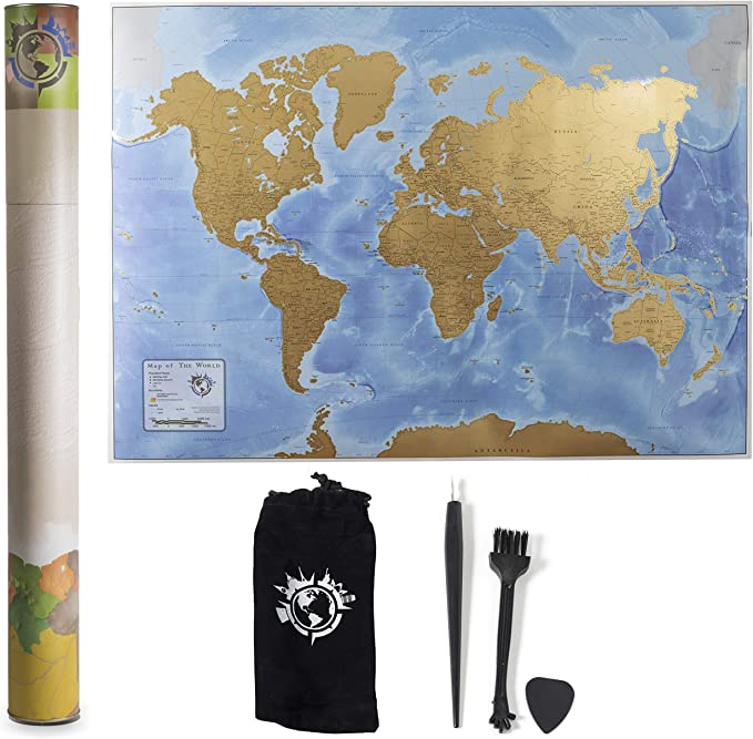 Scratch Nomad - Póster Interactivo de Mapa del Mundo para rascar (33 x 23 Pulgadas) con diseño de Mapa del Mundo para los viajeros Impreso en Papel Resistente, Incluye Herramientas para rascar: