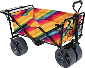 MacSports Collapsible Outdoor Folding Wagon with Side Table, Perfect Beach Wagon for Camping, Concerts, and More – Rainbow