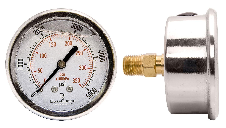 "2-1/2"" Liquid Filled Pressure Gauges - Stainless Steel Case, Brass, 1/4"" NPT, Center Back Mount Connection 0-100PSI"