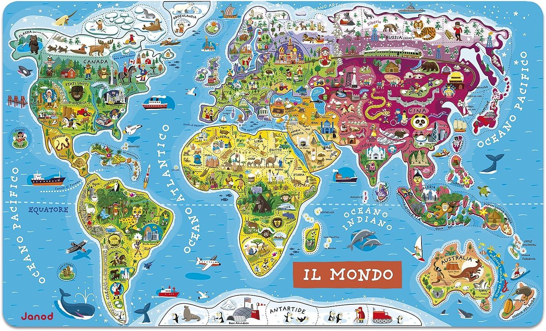 Janod - Puzzle magnético del Mundo de madera, Version en Italiano ...