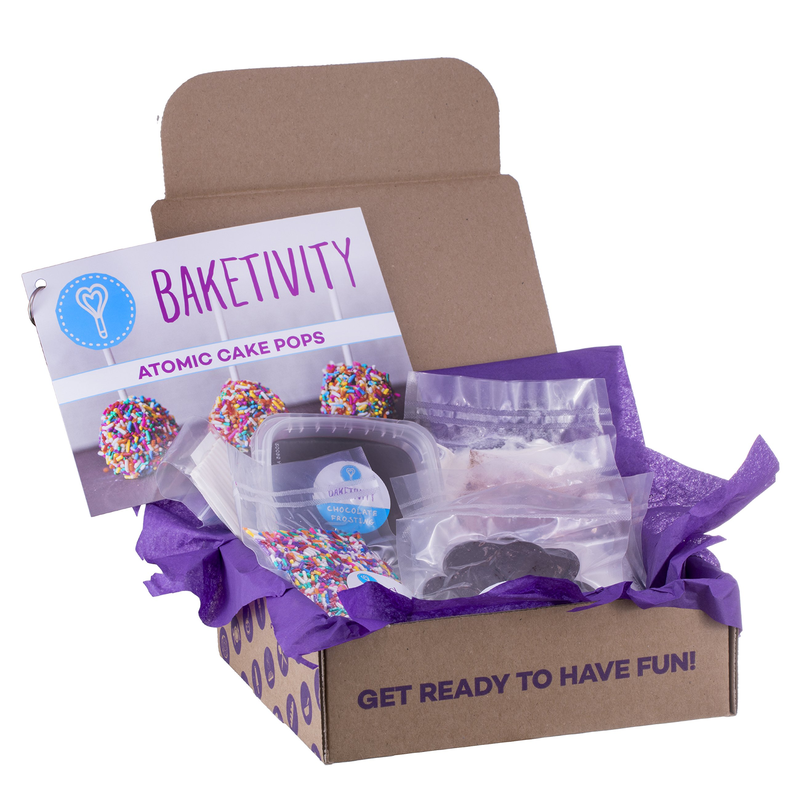 Baketivity Kids Baking Set, Meal Cooking Party Supply Kit for Teens, Real Fun Little Junior Chef Essential Kitchen Lessons, Includes Pre-Measured Ingredients, Delicious Cake Pops