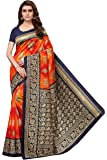 Ishin Poly Silk Orange Printed Women's Saree/Sari With Blouse Piece